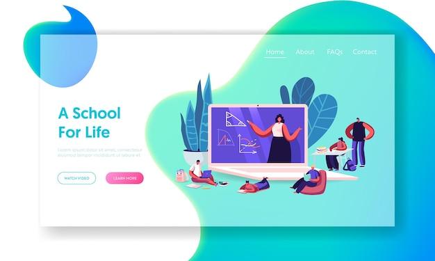 Modèle de page de destination pour l'éducation scolaire en ligne.
