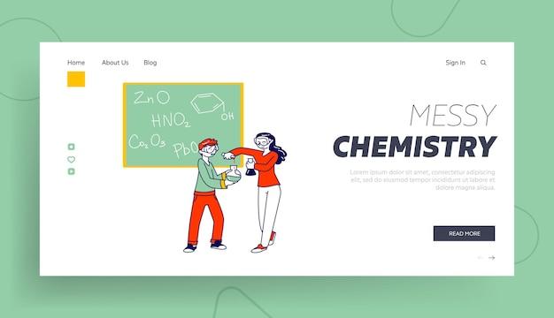 Modèle de page de destination pour enfants chimistes.