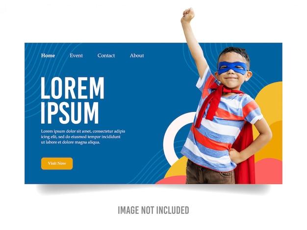 Modèle de page de destination pour enfants colorés