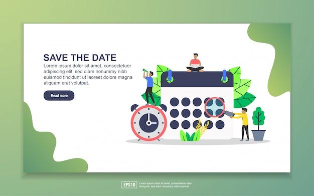 Modèle de page de destination pour enregistrer la date