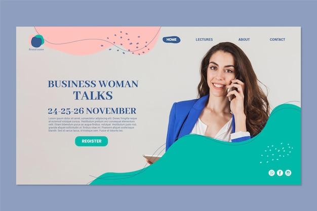 Modèle de page de destination pour femme d'affaires