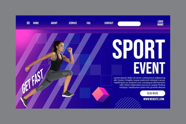 Modèle de page de destination pour le fitness et les sports