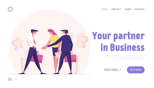 Modèle de page de destination pour le groupe de travail d'équipe parfait créatif gens d'affaires