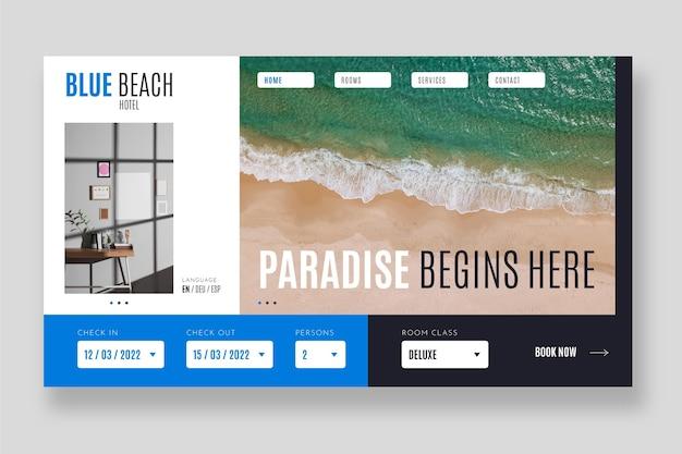 Modèle de page de destination pour hôtel plat avec photo