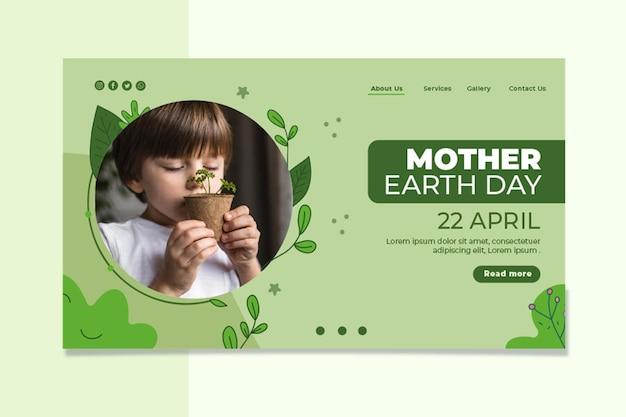 Modèle de page de destination pour le jour de la terre mère