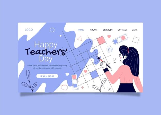 Modèle de page de destination pour la journée des enseignants dessinés à la main