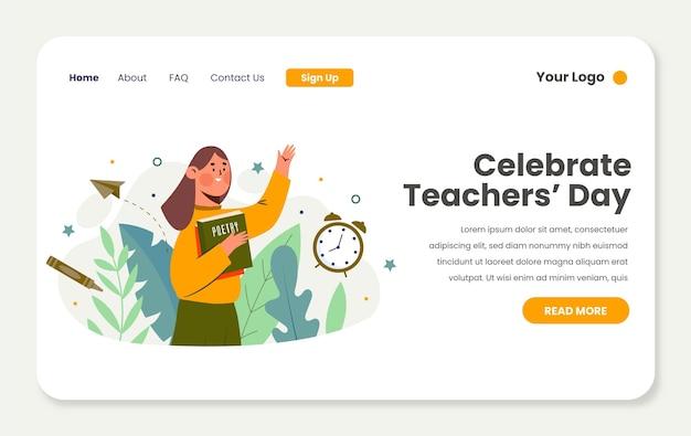 Modèle de page de destination pour la journée des enseignants à plat dessinés à la main