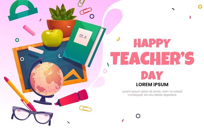 Modèle de page de destination pour la journée des enseignants à plat