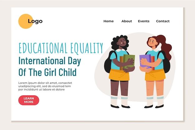 Modèle de page de destination pour la journée internationale plate de la petite fille