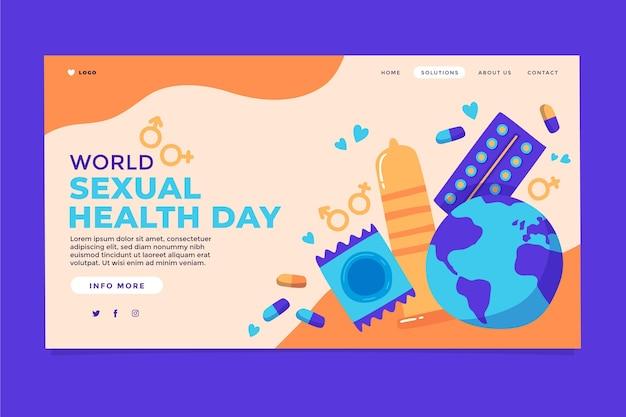 Modèle de page de destination pour la journée mondiale de la santé sexuelle dessiné à la main