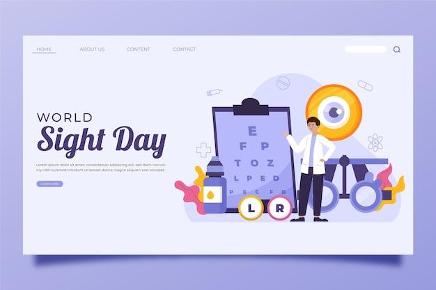 Modèle de page de destination pour la journée mondiale de la vue à plat dessiné à la main