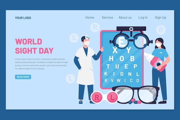Modèle de page de destination pour la journée mondiale de la vue