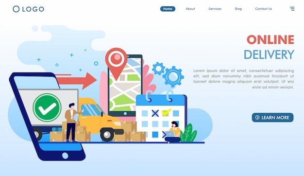 Modèle de page de destination pour la livraison en ligne