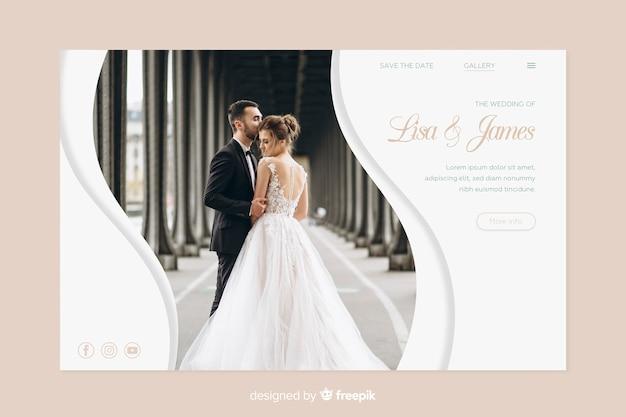 Modèle de page de destination pour mariage avec photo