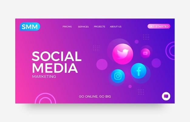 Modèle de page de destination pour le marketing des médias sociaux