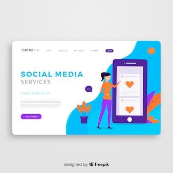 Modèle de page de destination pour les médias sociaux