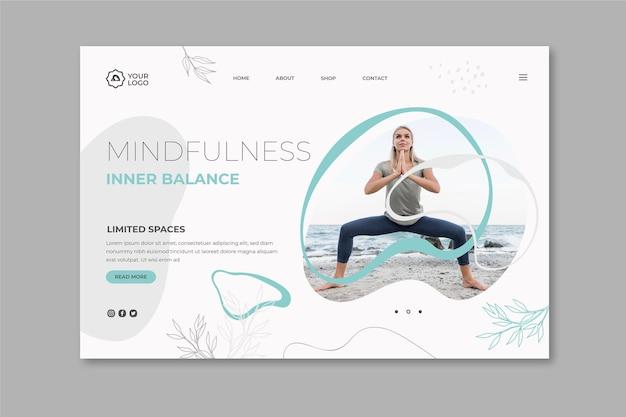 Modèle de page de destination pour la méditation et la pleine conscience