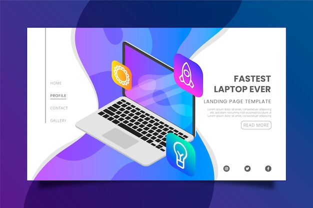 Le modèle de page de destination pour ordinateur portable et applications le plus rapide jamais conçu