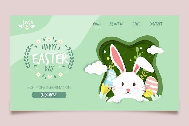 Modèle de page de destination pour pâques avec lapin