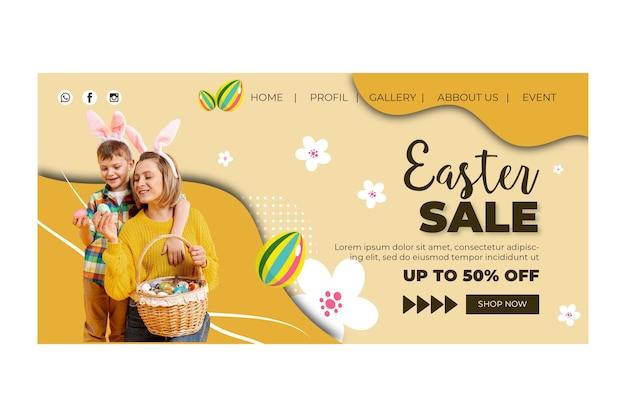 Modèle de page de destination pour pâques avec mère et fils