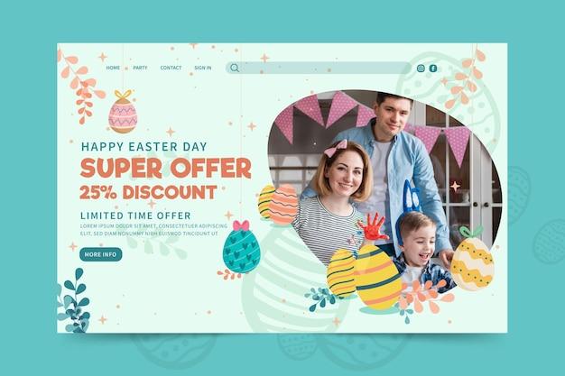 Modèle de page de destination pour pâques avec des œufs et de la famille
