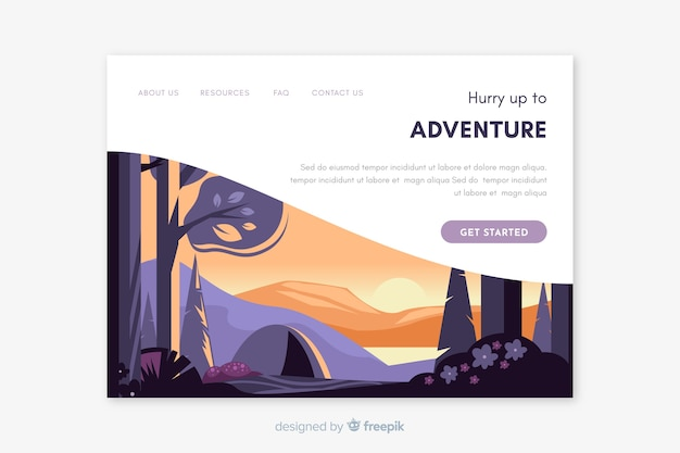 Modèle de page de destination pour paysage de voyage