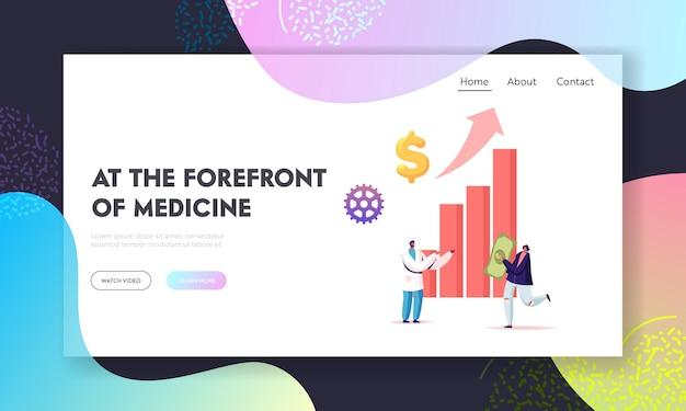 Modèle de page de destination pour le prix médical, le coût des services de médecine et les dépenses.