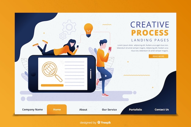 Modèle de page de destination pour le processus de créativité