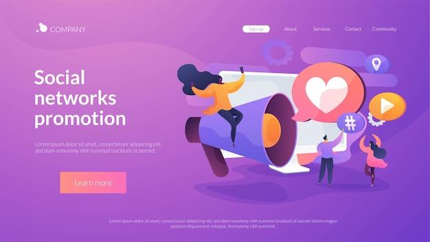 Modèle de page de destination pour la promotion des réseaux sociaux