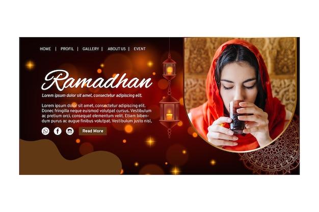 Modèle De Page De Destination Pour Le Ramadan Vecteur gratuit
