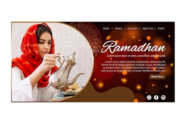 Modèle de page de destination pour le ramadan