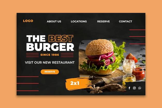 Modèle de page de destination pour le restaurant burgers