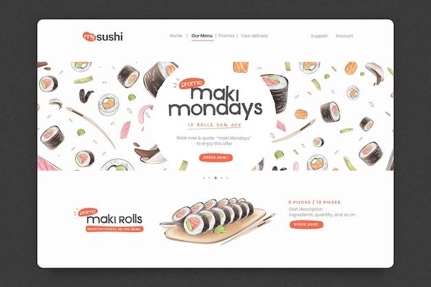 Modèle de page de destination pour restaurant de sushi