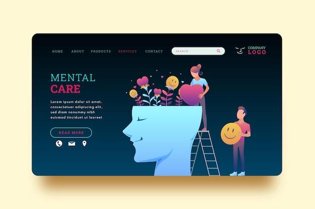 Modèle de page de destination pour la santé mentale en dégradé