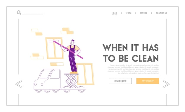 Modèle de page de destination pour le service professionnel de l'entreprise de nettoyage en profondeur industrielle