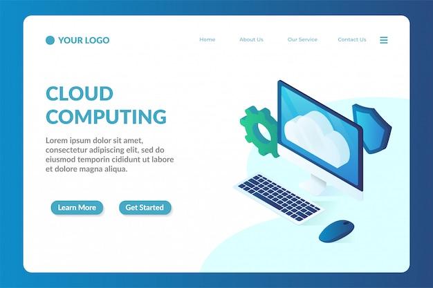 Modèle de page de destination pour site isométrique en nuage