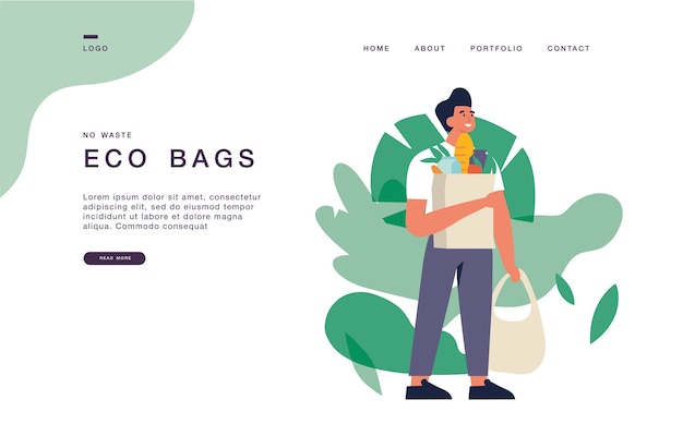 Le modèle de page de destination pour les sites web avec un jeune homme porte des sacs écologiques avec des achats. illustration de bannière eco épicerie concept.