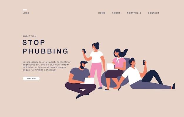 Modèle de page de destination pour les sites web avec des personnes utilisant leurs ordinateurs portables et leurs ordinateurs. arrêtez l'illustration de bannière de concept de phubbing.