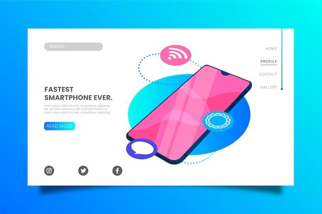Modèle de page de destination pour smartphone le plus rapide