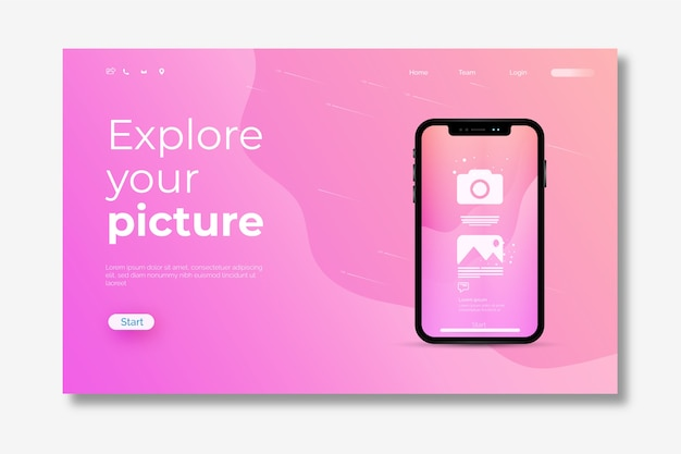 Modèle de page de destination pour smartphone