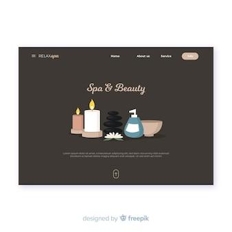 Modèle de page de destination pour spa avec des produits de beauté