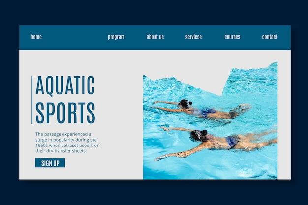 Modèle de page de destination pour les sports aquatiques