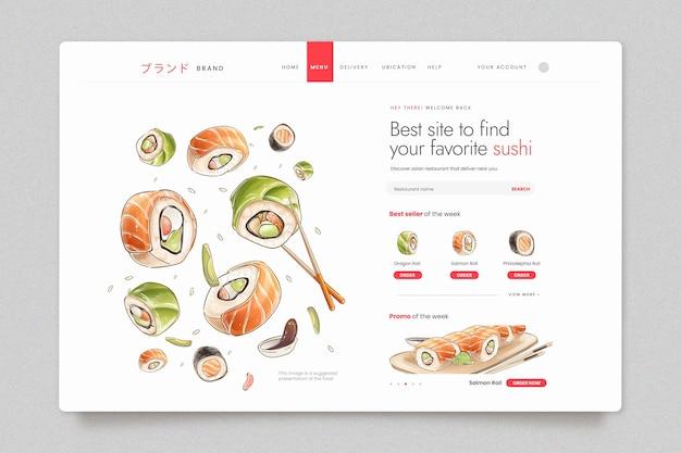 Modèle de page de destination pour sushi bistro