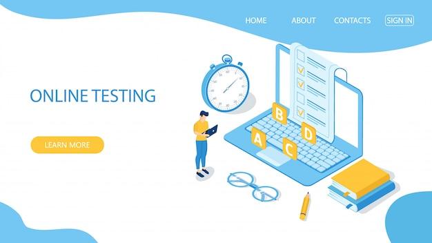 Modèle de page de destination pour les tests en ligne