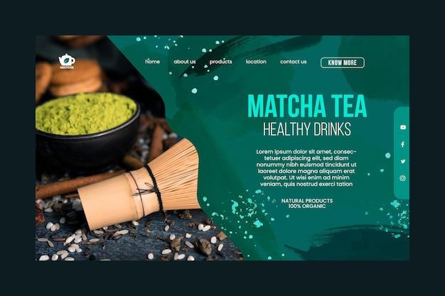 Modèle de page de destination pour le thé matcha