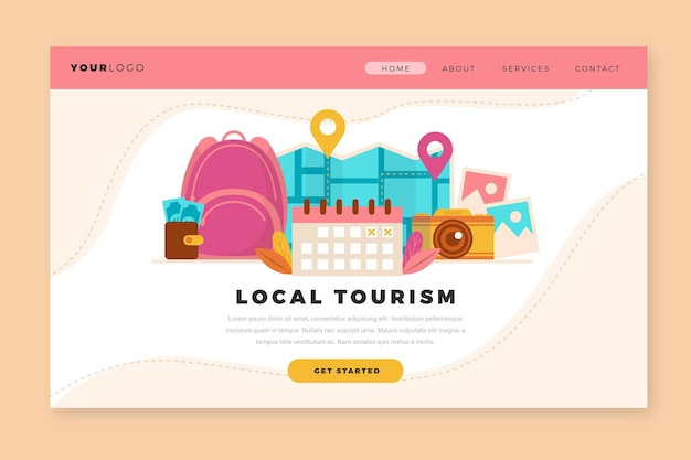 Modèle de page de destination pour le tourisme local