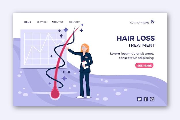 Modèle de page de destination pour le traitement de la perte de cheveux dessiné à la main