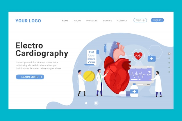 Modèle de page de destination pour le traitement des soins de santé cardiaque