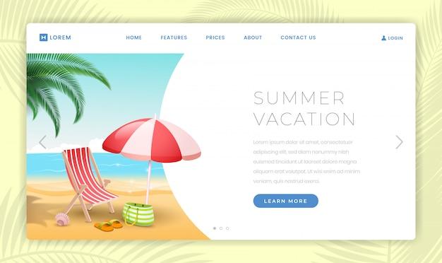 Modèle de page de destination pour les vacances d'été