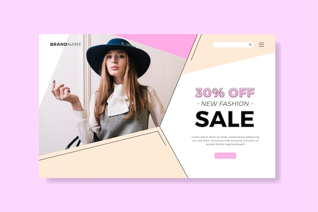 Modèle de page de destination pour la vente de mode